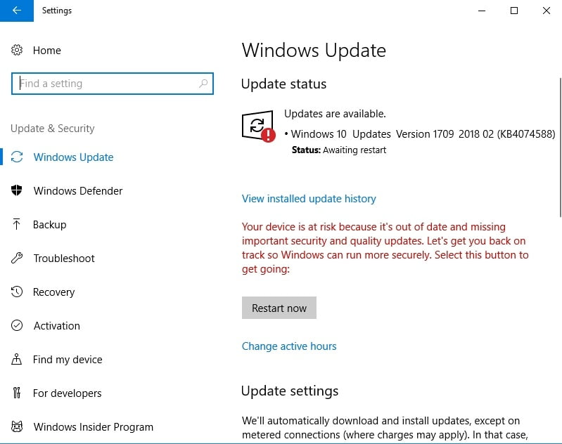Check Windows Update for available updates. Let them come through.