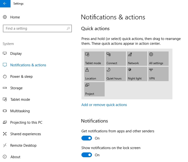 You can configure the Action Center settings to your needs.