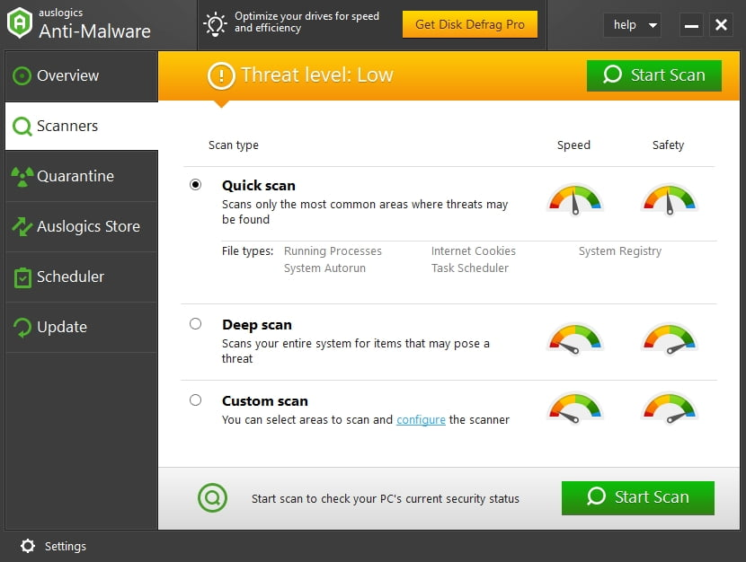 Auslogics Anti-Malware keeps your system safe.