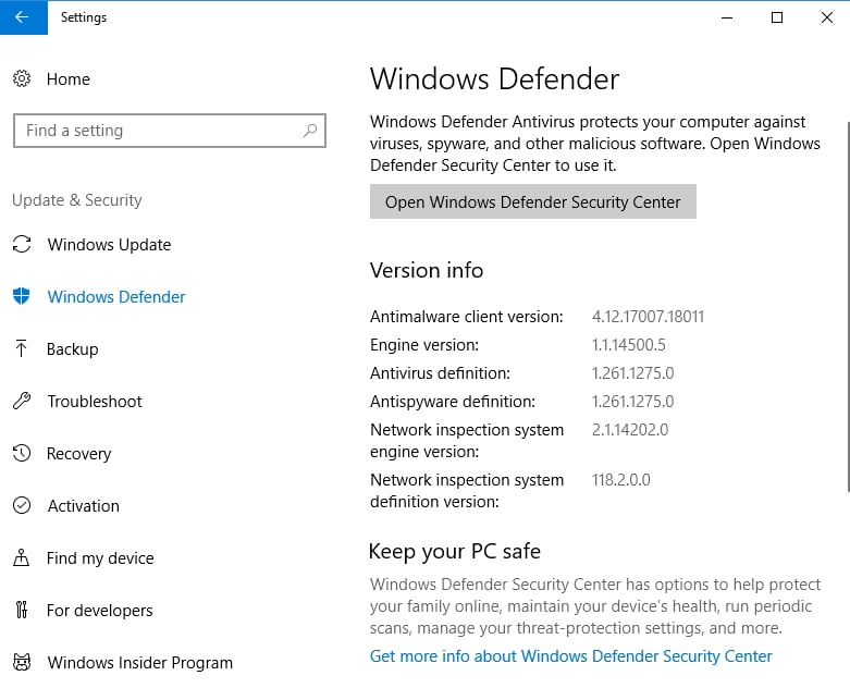 Windows Defender protects your PC against malware.