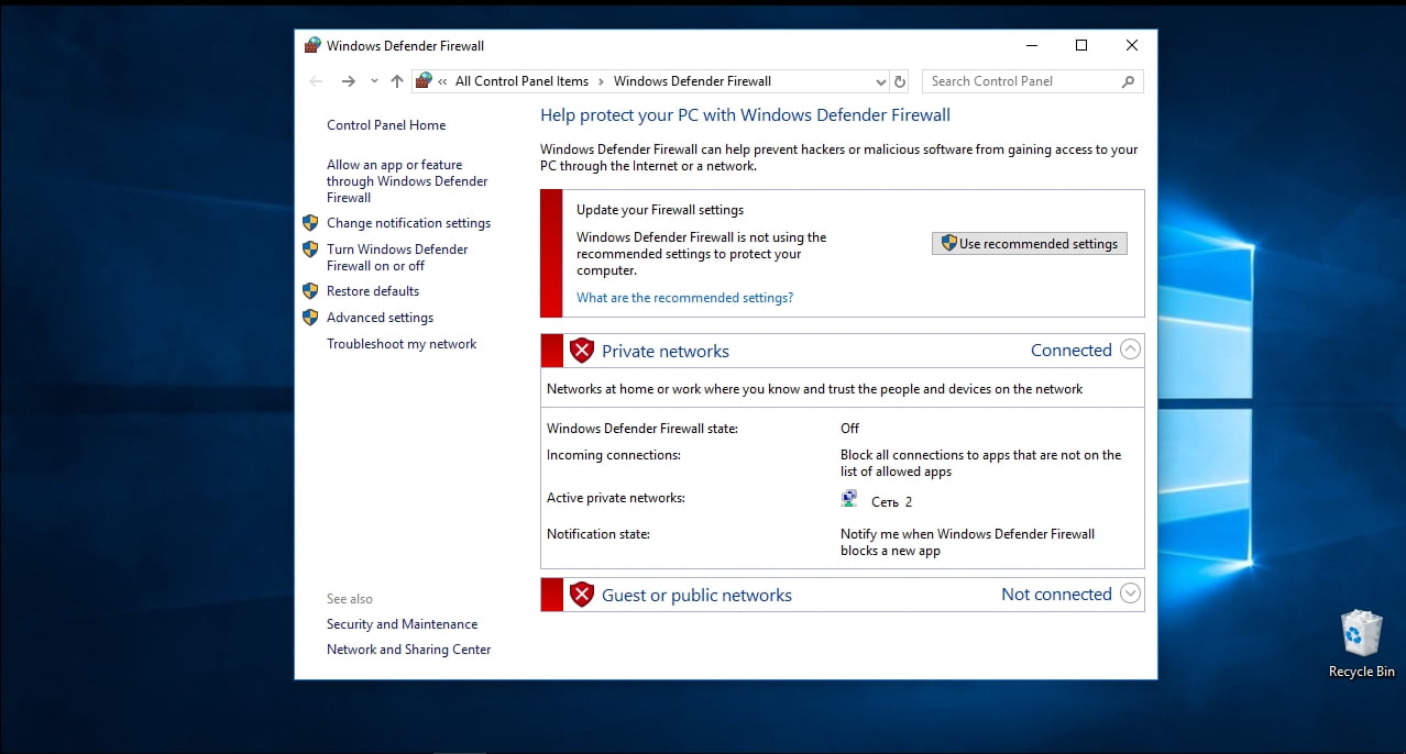 Windows Defender says your PC is not safe.