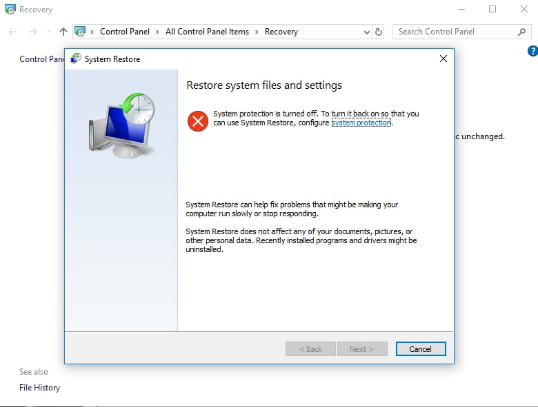 Enable System Restore to back up your files or undo recent changes.