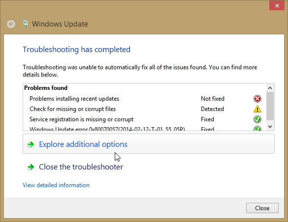 Troubleshoot your Windows Update to fix your update issues.