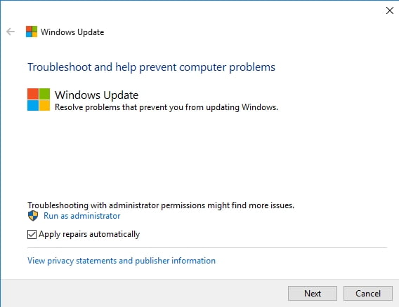 Windows Update Troubleshooter can fix your update issues.