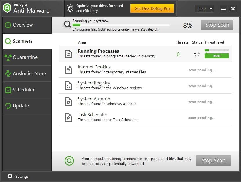 Keep malware out with Auslogics Anti-Malware.