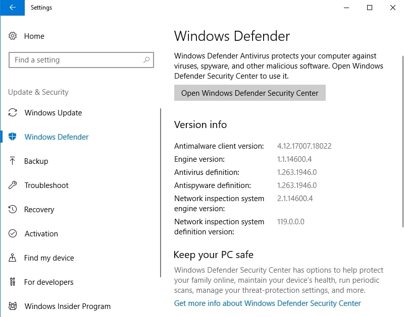Protect your PC with the built-in Windows Defender solution