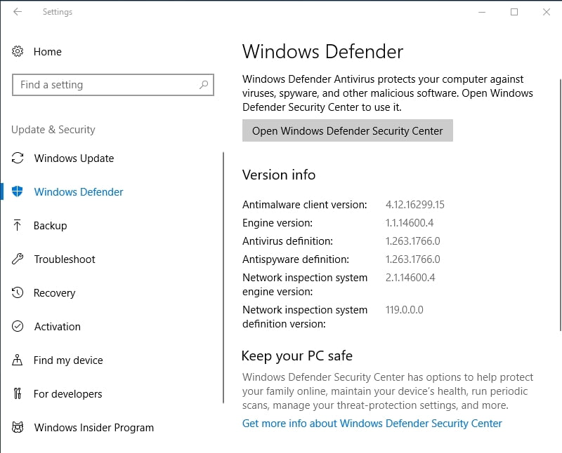 Use the built-in Windows Defender to scan your PC for malware