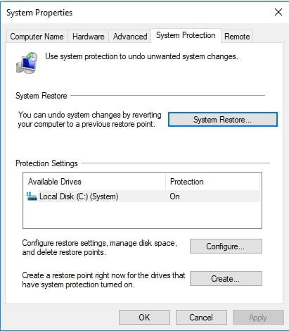 Use System Restore to configure your system to an earlier state