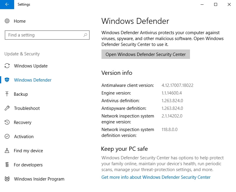 Scan your PC for malware with Windows Defender