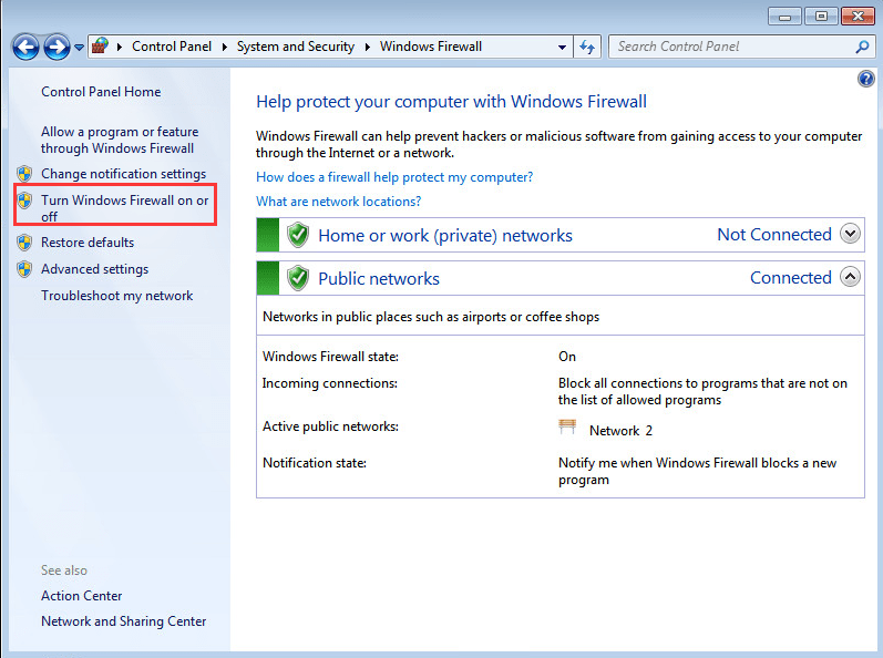 Turn How to turn Windows Firewall on or off?