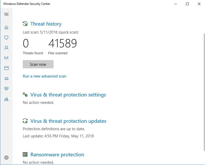 Windows Defender can scan your PC for malware.