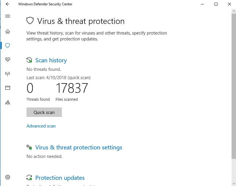 Windows Defender is a built-in tool that keeps malware out.