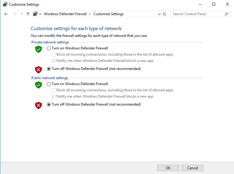turn off windows firewall and check ms outlook