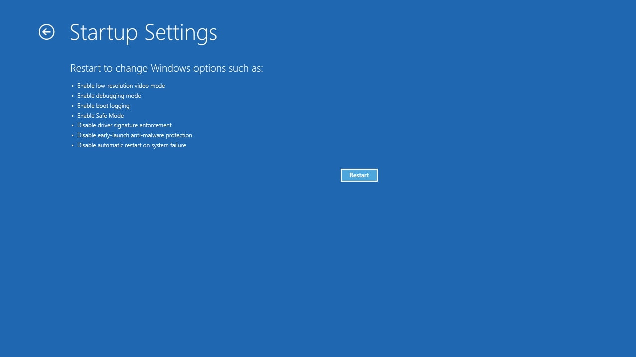 Restart to change Windows startup options.