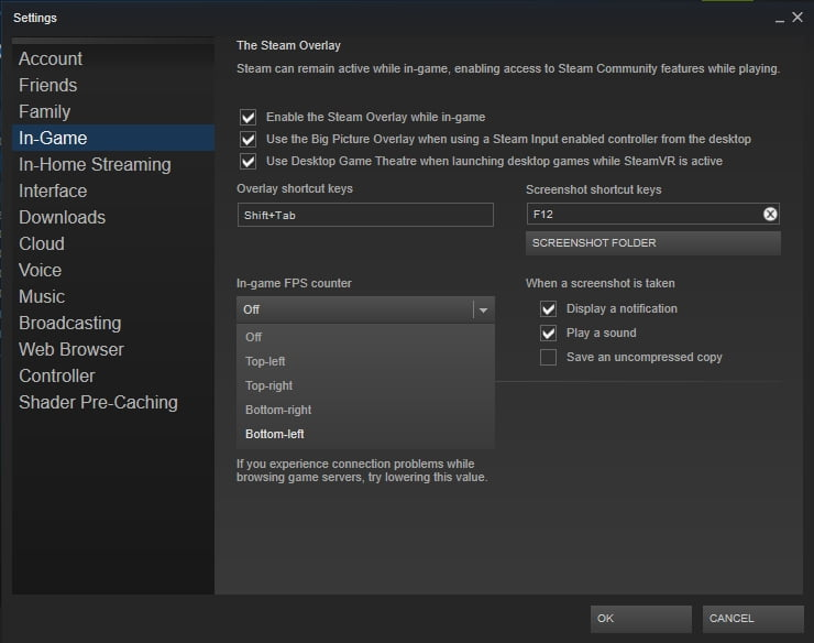 Configure your In-Game FPS Counter settings in Steam.