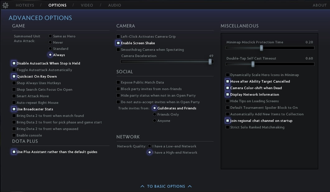 Turn on the 'Display Network Information' option in DOTA 2.