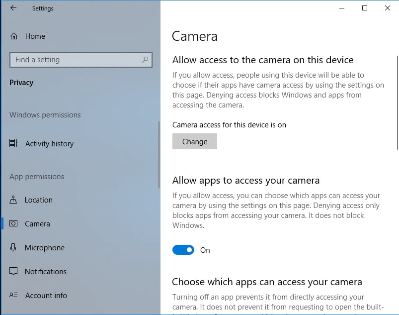 Fixing problems accessing web camera on Windows 10?