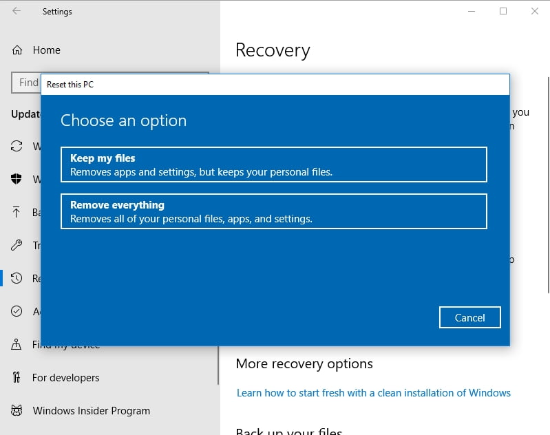 Make sure to keep your personal files while resetting your PC