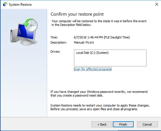 Confirm your restore point to get your sytem back in time