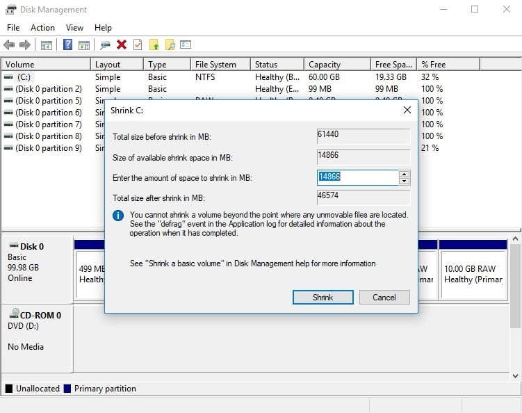 Shrink a partition to dual boot Windows 7 and 10