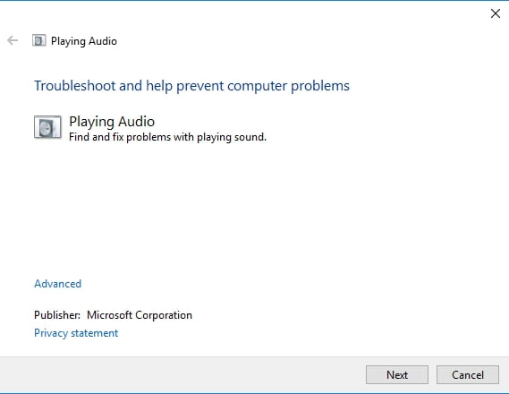 Use Audio playback troubleshooter to fix sound issues in Windows 10