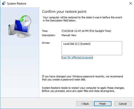 Confirm your restore point to take your PC back in time.