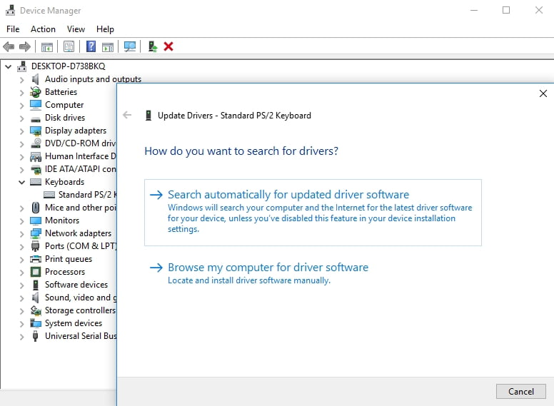 Let Device Manager search for the needed driver online