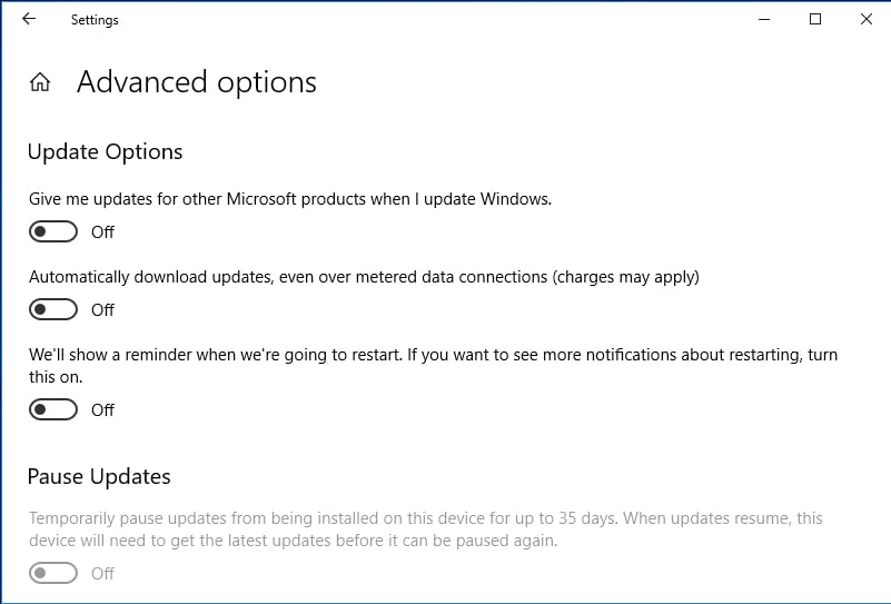 Disable Microsoft product updates.