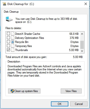 Check Thumbnails in th Disk cleanup menu.