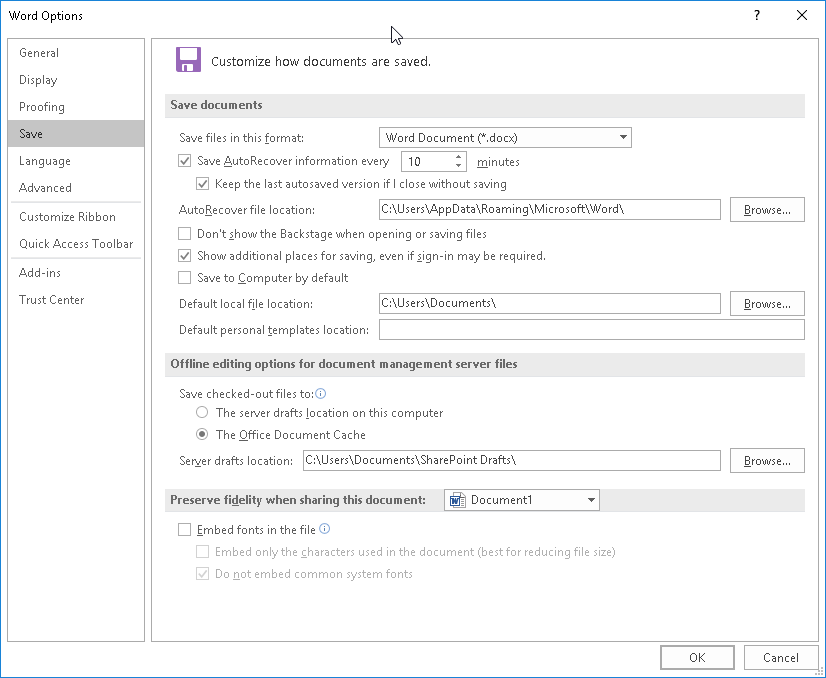 Enable the 'Save AutoRecover information' option.