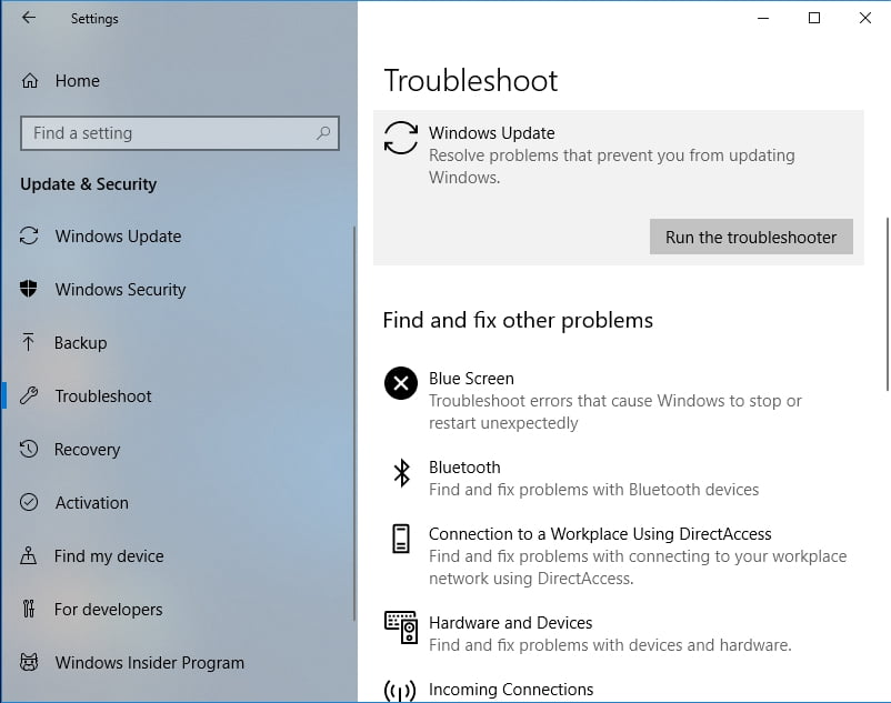 Trouebleshoot Windows Update