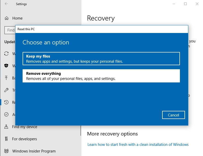 Clean install Win 10 to fix Windows 10 Update Error 0x800703f1