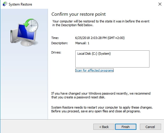 Confirm your restore pint to proceed with your system restore.