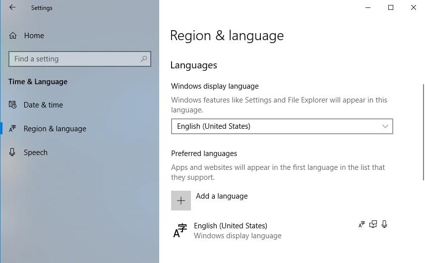 Make sure English is your default language.