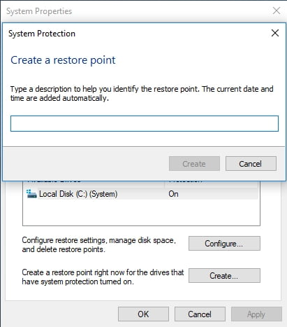 Create a restore point to roll back your system in case something goes wrong,
