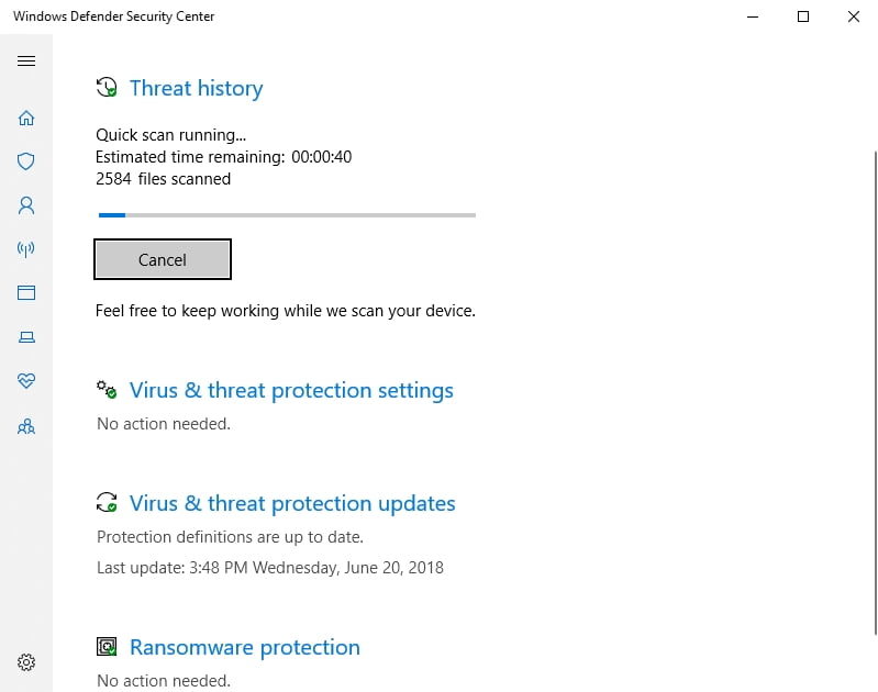 Employ Windows Defender to scan your PC from malware