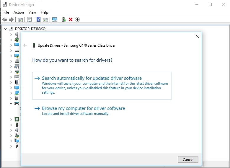 Let Device Manager search for your Samsung printer driver software online.