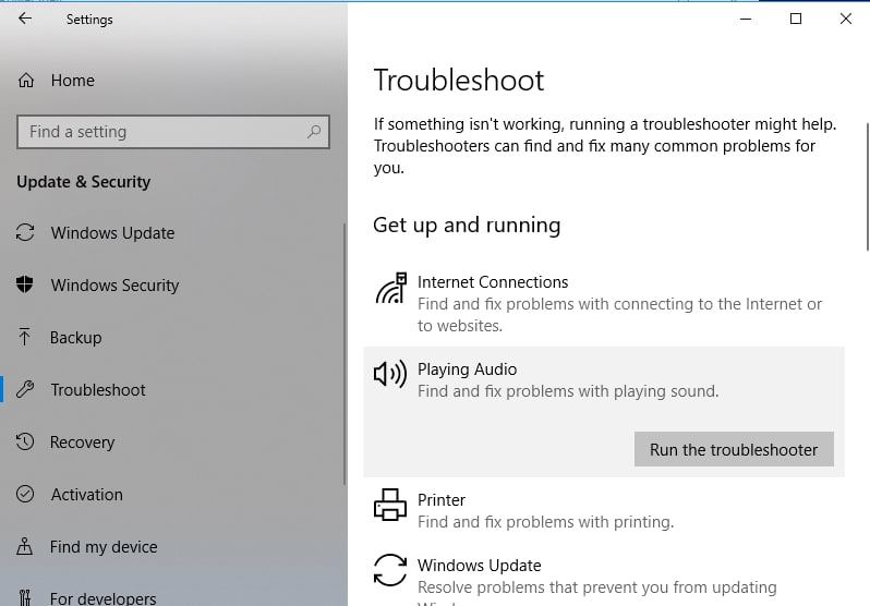 Click Run the troubleshooter to fix your audio issues.