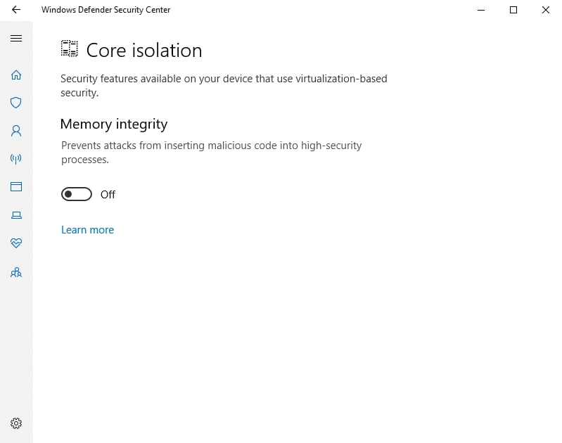 You can disable Memory Integrity if need be.