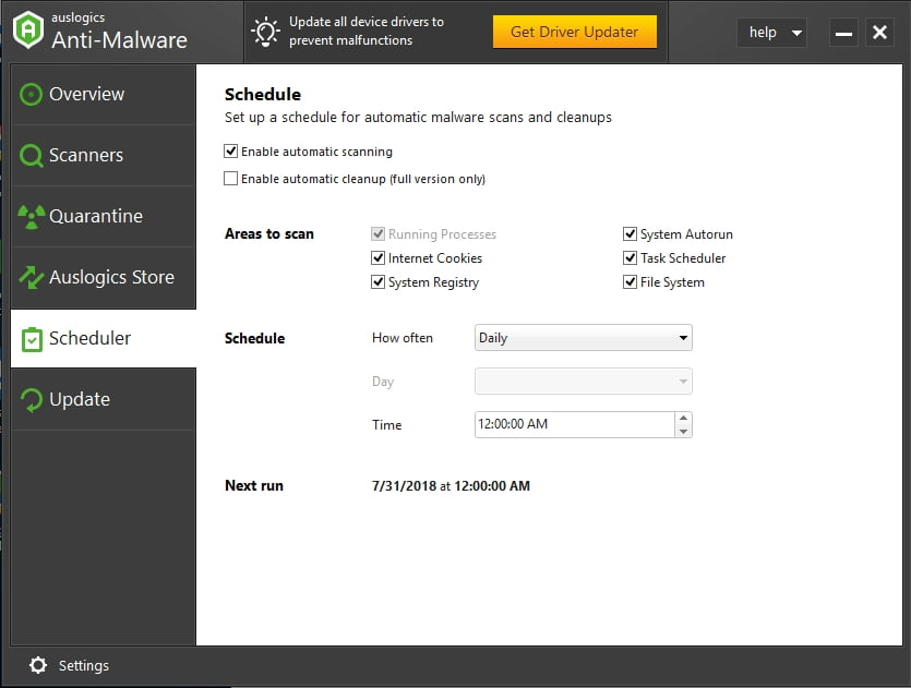 Protect your system against malicious items with Auslogics Anti-Malware.