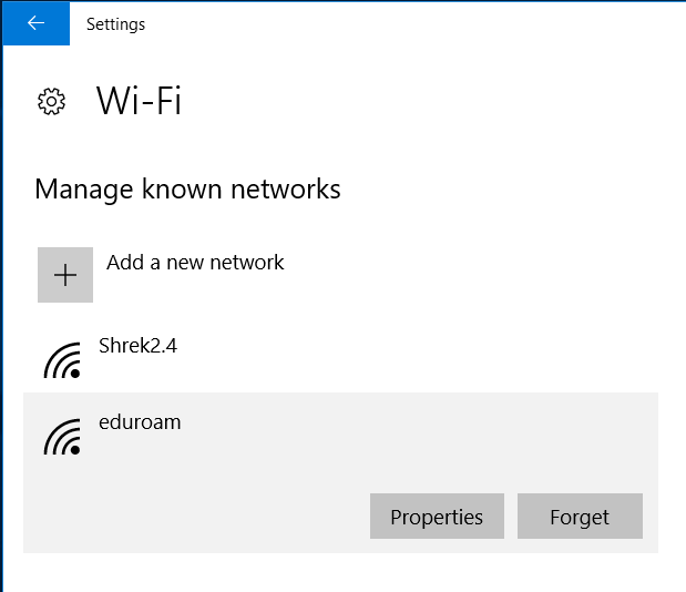Click Forget to remove a saved Wi-Fi Network.