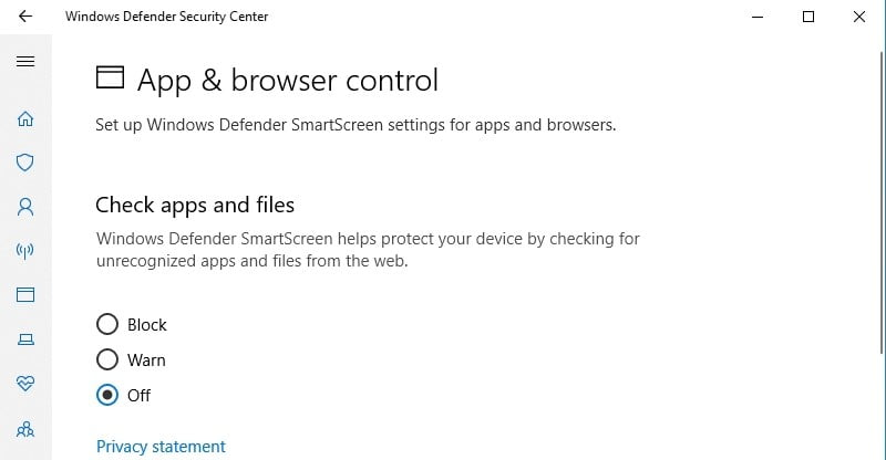 We advise against disabling SmartScreen