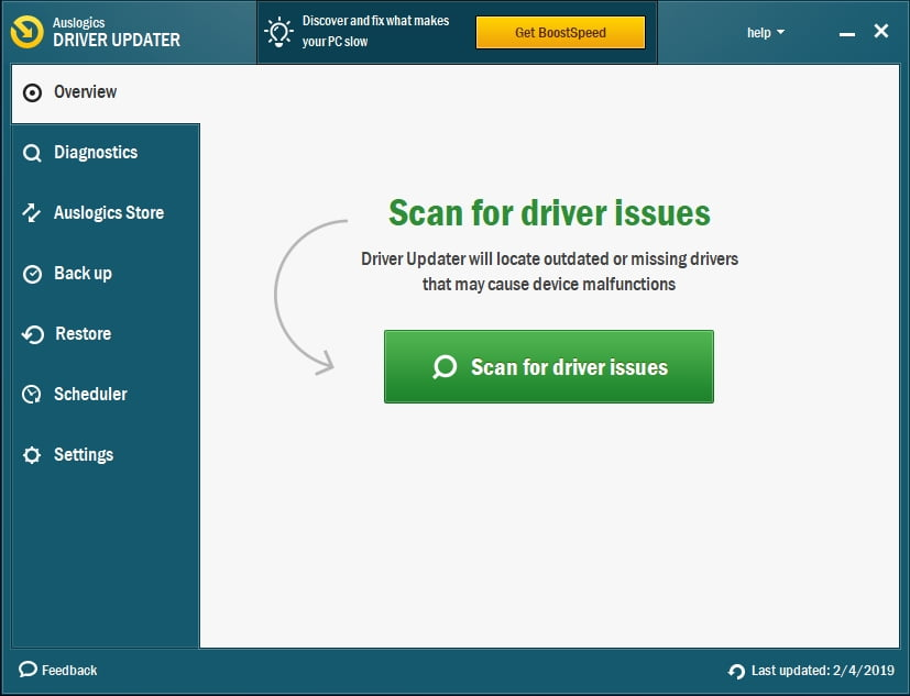 Click on Scan for driver issues.