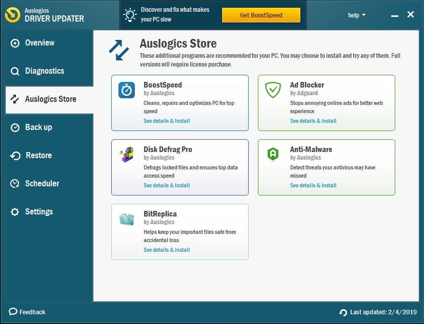 Enjoy Auslogics products, including Auslogics Driver Updater.