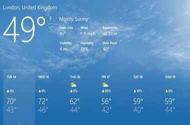 Bing weather app not updating constantly updating