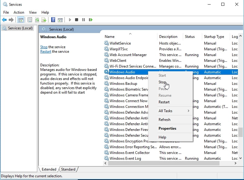 Right-click Windows Audio and select Stop.