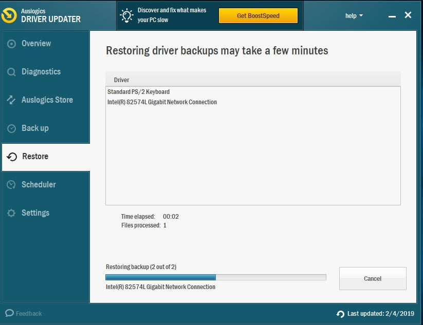 You can restore your driver backups if you like.