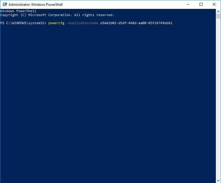 Input powercfg -duplicatescheme e9a42b02-d5df-448d-aa00-03f14749eb61.