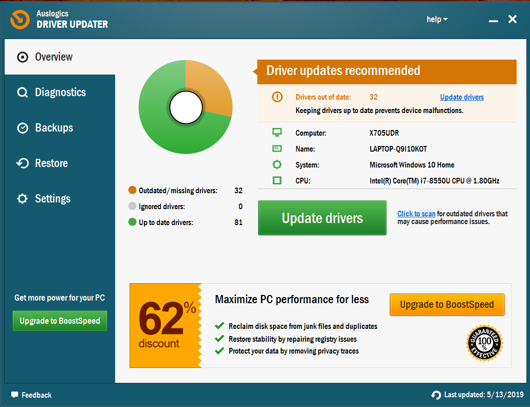 Click Update drivers to get their latest versions.