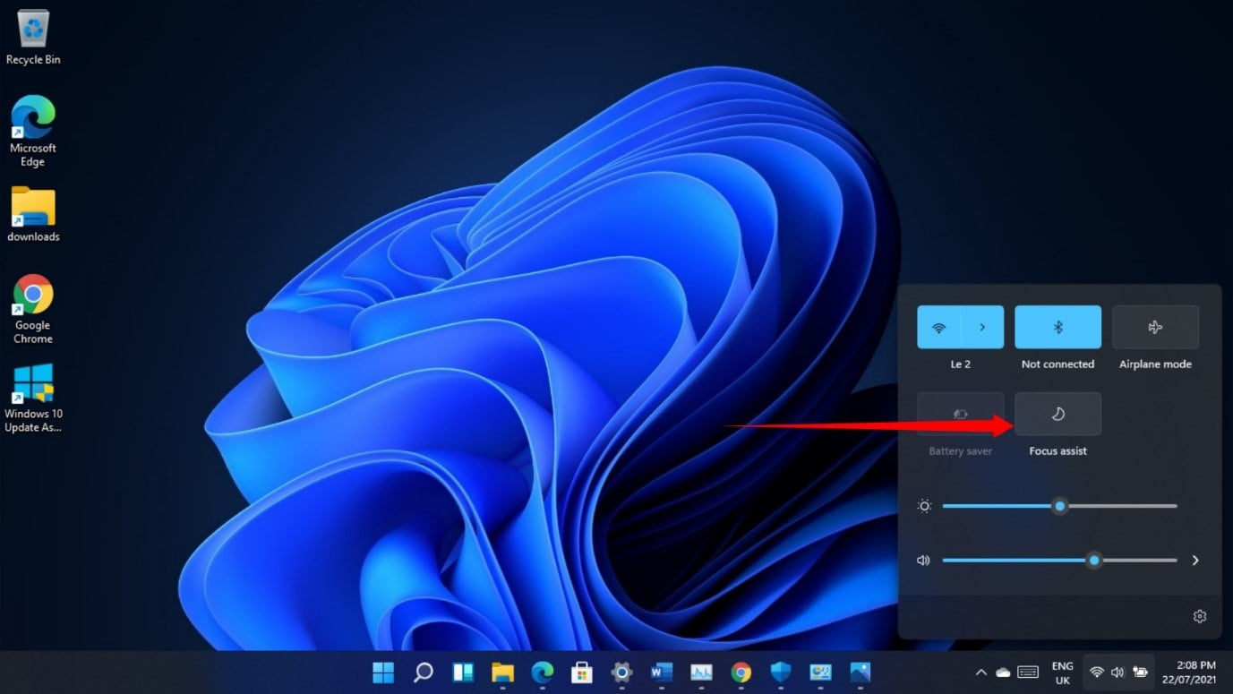 Click on the Focus Assistant icon on Windows 11